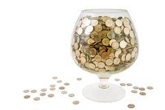 Glas met geld royalty-vrije stock foto's