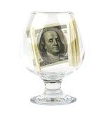 Glas met gevouwen binnen bankbiljetten Stock Afbeelding