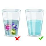 Glas met schoon en vuil water, besmettingsillustratie Stock Foto's