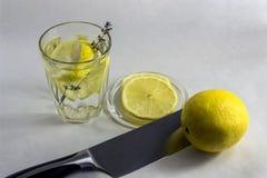Glas met water en citroen Stock Foto