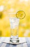 Glas met watercitroen en ijs Royalty-vrije Stock Foto