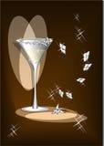 Glas met wijn en licht Stock Afbeelding