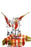 Glas met wodka Stock Foto's