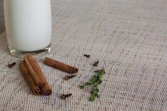 Glas Milch mit Zimt und Thymian Stockfotografie