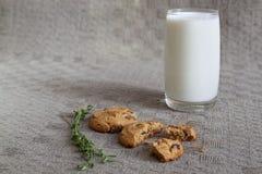 Glas Milch, zwei Kekse, Thymian auf dem Tisch Lizenzfreie Stockbilder
