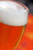 Glas mit Bier und Schaumgummi lizenzfreie stockfotos
