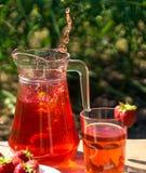 Glas mit Erdbeeresaft und -beeren Lizenzfreies Stockfoto