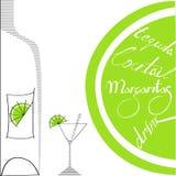 Glas mit Flasche und Kalk Lizenzfreie Stockbilder