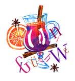 Glas mit Glühwein, Orange, Zimt und Titel Gezeichnete ausdrucksvolle Illustration des Aquarells Hand lizenzfreie abbildung