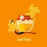 Glas mit Honey Vector Illustration Lizenzfreies Stockbild