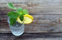 Glas mit kaltem funkelndem Wasser, eine Scheibe einer Zitrone und neue Grüns der Minute lizenzfreie stockbilder