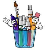 Glas mit Karikaturbleistift, Markierungen, Bürste, Stift Stockfotos