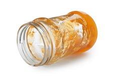 Glas mit Pfirsichmarmelade stockfoto