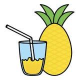 Glas mit Saft von Ananas stock abbildung
