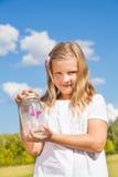 Glas mit Schmetterling Lizenzfreies Stockbild