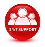 24/7 glas- röda runda knapp för service (symbol för kundomsorglag) Fotografering för Bildbyråer
