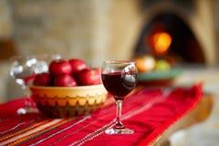 Glas rode wijn Royalty-vrije Stock Afbeeldingen