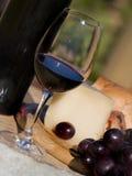 Glas rode wijn bij wijngaard Stock Afbeeldingen