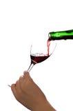 Glas rode wijn (die op wit wordt geïsoleerds) Royalty-vrije Stock Afbeeldingen