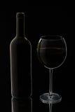 Glas rode wijn met fles Stock Fotografie