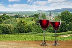 Glas rode wijn tegen wijngaard stock foto's