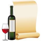 Glas Rotwein mit Flasche und altem Rollepapier Stockfotos