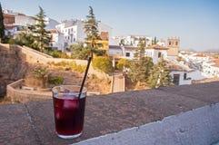 Glas Sangria in Ronda Spanien Lizenzfreies Stockfoto