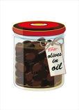 Glas schwarze Oliven im Öl Stockfotografie