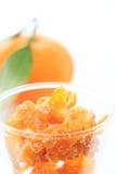 Glas sinaasappel/mandarijn sukade Royalty-vrije Stock Foto