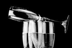 Glas szampan emty szkło na wierzchołku Zdjęcia Royalty Free