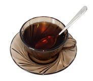 Glas Tee mit Löffel Stockfoto