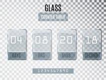 Glas TegendieTijdopnemer op transparante achtergrond wordt geïsoleerd Malplaatje van de begineinddatum van kortingen en bevorderi royalty-vrije illustratie