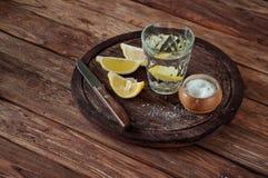Glas Tequila mit Zitronenscheiben und -salz Lizenzfreie Stockfotos