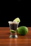 Glas Tequila, Salz und Kalk Lizenzfreie Stockfotografie