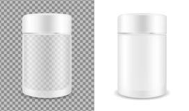 Glas transparante kruik Verpakking voor schoonheidsmiddelen vector illustratie