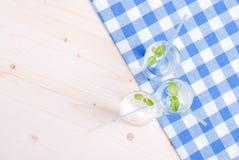 Glas Trinkwasser mit Minze auf einer Tabelle bedeckt mit einem Kontrolleur lizenzfreies stockbild