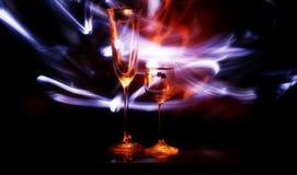 Glas twee met licht Stock Afbeelding
