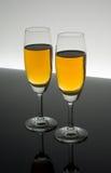 Glas twee van Champagne Stock Afbeeldingen