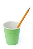 Glas und Bleistift Stockfoto