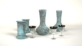 Glas und Eisen mit Grünspan Lizenzfreies Stockbild