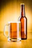 Glas und Flasche Bier stockfotografie