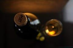 Glas und Flasche des weißen Weins Stockfoto