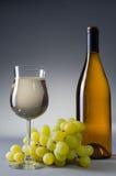 Glas und Flasche voll weißer Wein Stockfoto