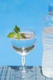 Glas und Flasche Wasser im Freien Stockbild
