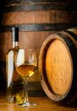 Glas und Flasche Weißwein Lizenzfreies Stockbild