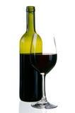 Glas und Flasche Wein Stockfotos