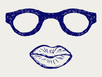 Glas- und Lippenschattenbilder Stockfotografie