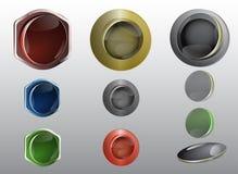 Glas- und metallische Knöpfe für Netzgraphiken Stockfoto