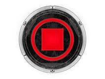 Glas- und Metallkreis stoppen das grafische Element des Symbols, das an lokalisiert wird Stockfotografie