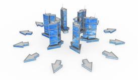 Glas und Stahl, Pfeil-Gebäude-Verbreitung Stockbilder